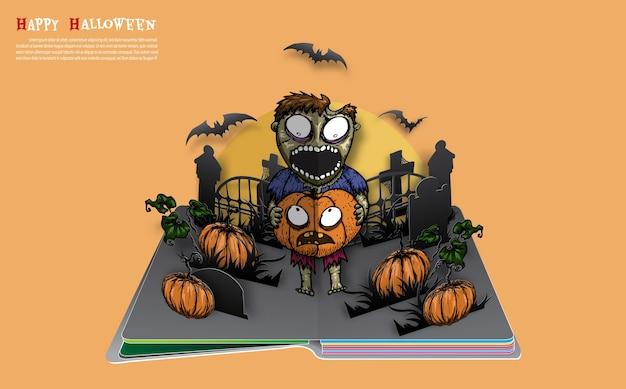 Halloween pop-up-buch aus dem vektor. Premium Vektoren
