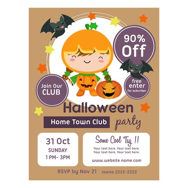 Halloween-poster mit niedlichen kürbis clown kinder Premium Vektoren