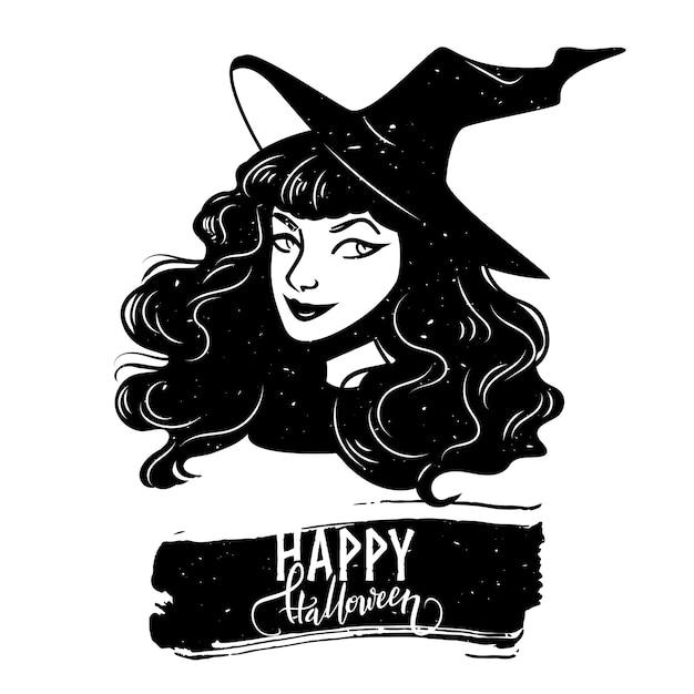 Halloween-postkarte mit hexenfrau und kalligraphietext Premium Vektoren