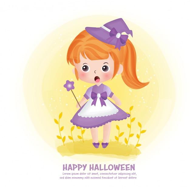 Halloween-postkarte mit niedlicher hexe. Premium Vektoren