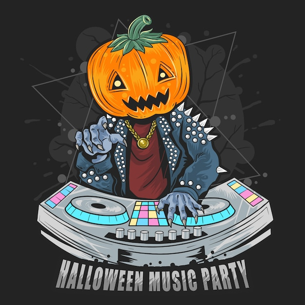 Halloween pumpkin head dj in music party mit punk rocker jacket Premium Vektoren