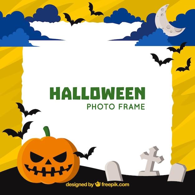 Halloween-Rahmen mit Friedhof und Kürbis | Download der kostenlosen ...