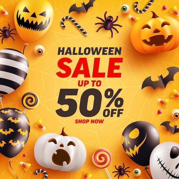 Halloween sale banner vorlage mit niedlichen halloween kürbis und geister luftballons. Premium Vektoren