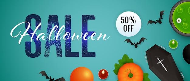 Halloween sale, fünfzig prozent rabatt auf schriftzug, kessel, trank Kostenlosen Vektoren