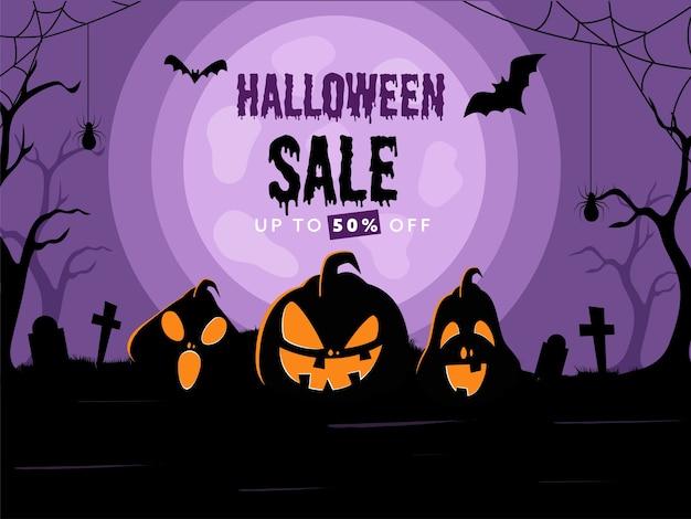 Halloween sale poster design mit 50% rabatt Premium Vektoren