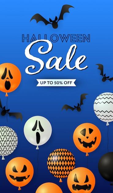 Halloween sale schriftzug, ghost ballons und fledermäuse Kostenlosen Vektoren