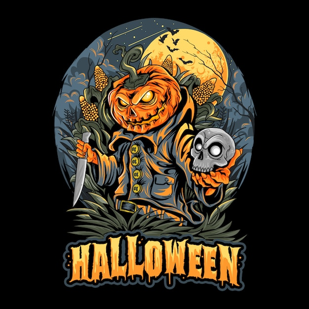 Halloween scarecrow, skull head und pumpkins artwork Premium Vektoren