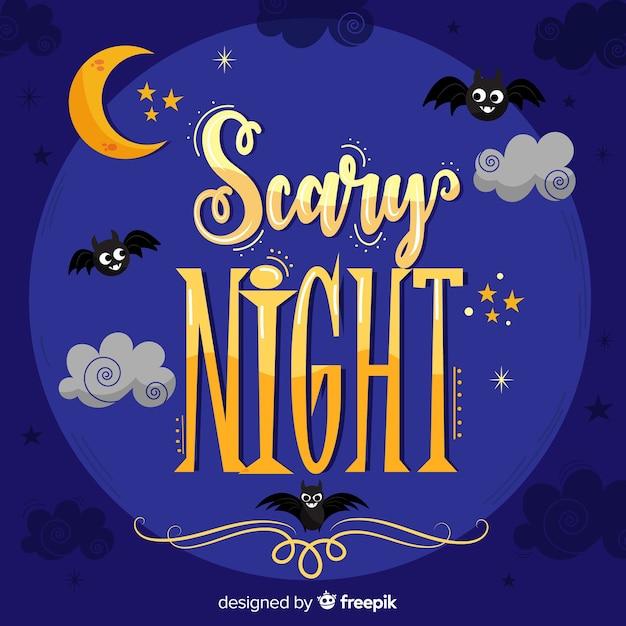Halloween scary night schriftzug Kostenlosen Vektoren