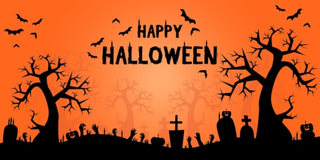 Halloween-schattenbildrahmenkarikatur-hintergrundfahne Premium Vektoren