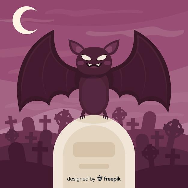 Halloween-schlägerhintergrund im flachen design Kostenlosen Vektoren