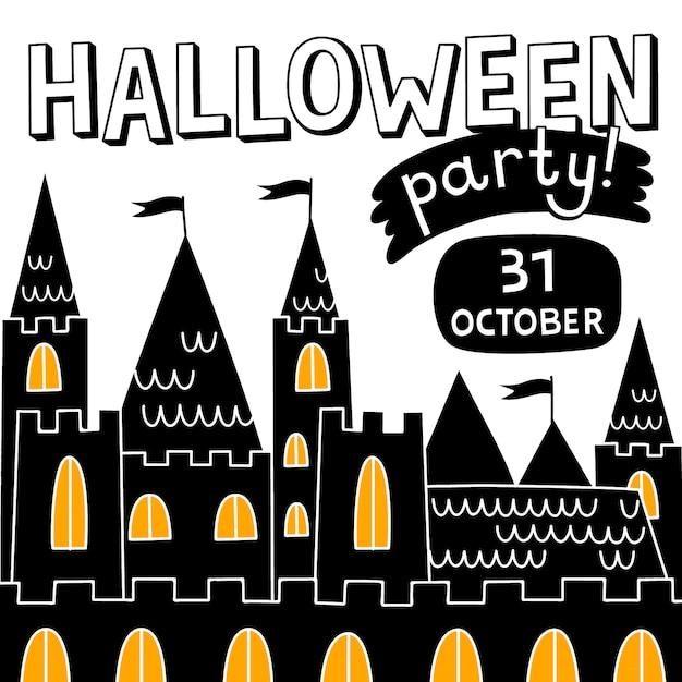 Halloween schloss hintergrund Premium Vektoren