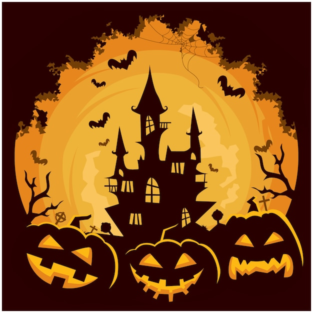 Halloween-schlosskürbishintergrund Premium Vektoren