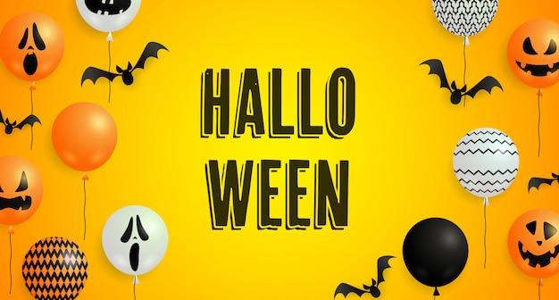 Halloween schriftzug, fledermäuse, geist und kürbis ballons Kostenlosen Vektoren