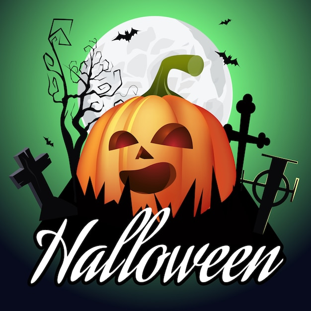 Halloween-schriftzug. jack o laterne auf friedhof, baum und mond Kostenlosen Vektoren