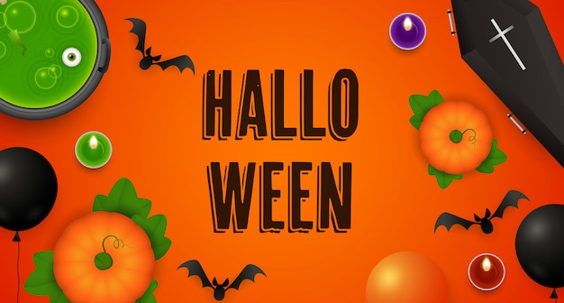 Halloween-schriftzug mit kürbissen, kessel, sarg und fledermäusen Kostenlosen Vektoren
