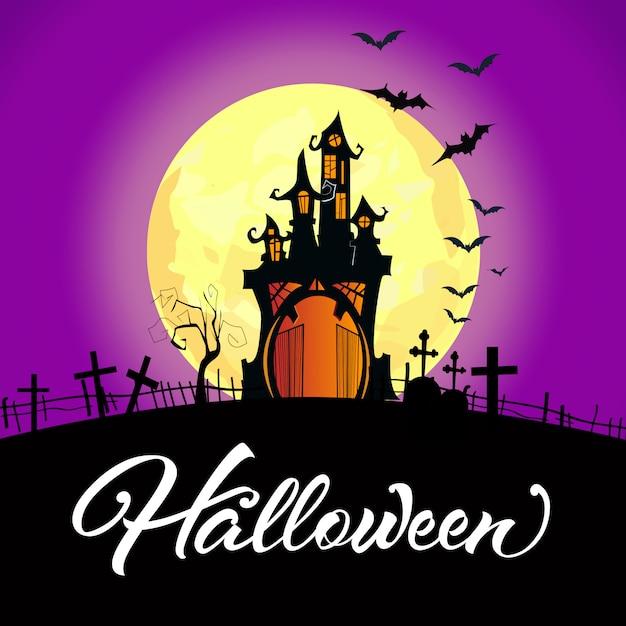 Halloween-schriftzug mit schloss, vollmond und friedhof Kostenlosen Vektoren