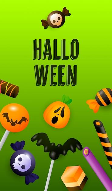 Halloween-schriftzug mit süßigkeiten, lutscher und zuckerstangen Kostenlosen Vektoren