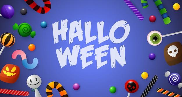Halloween-schriftzug mit süßigkeiten Kostenlosen Vektoren