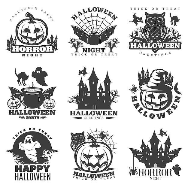 Halloween schwarz weiß embleme Kostenlosen Vektoren