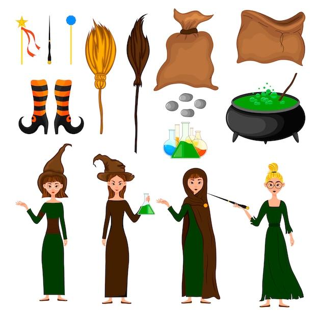Halloween set mit hexen. cartoon-stil. vektor. Premium Vektoren