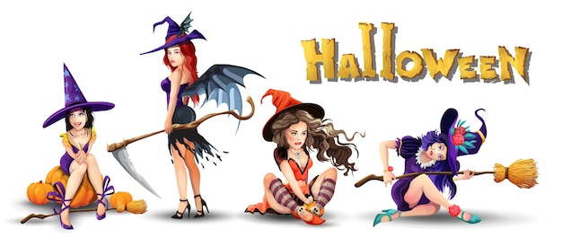 Halloween-set mit schönen hexen. sammlung verschiedener niedlicher schöner hexen. mädchen sitzt, ruht sich aus, denkt nach und lächelt. isolierte illustration im karikaturstil Premium Vektoren