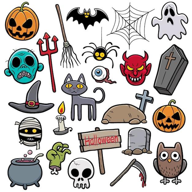 Halloween-set Premium Vektoren