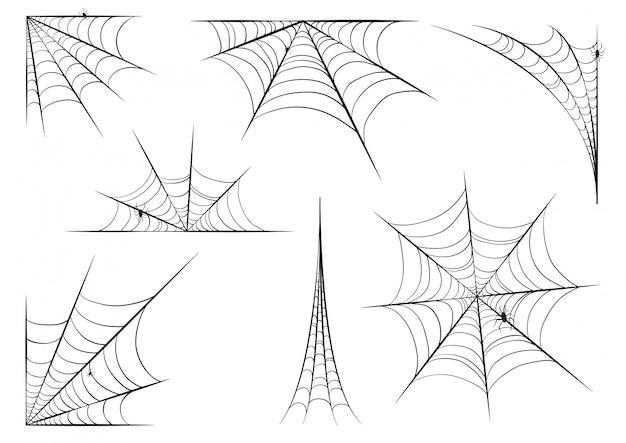Halloween spinnennetz gesetzt Premium Vektoren