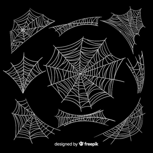 Halloween spinnennetz kollektion Kostenlosen Vektoren