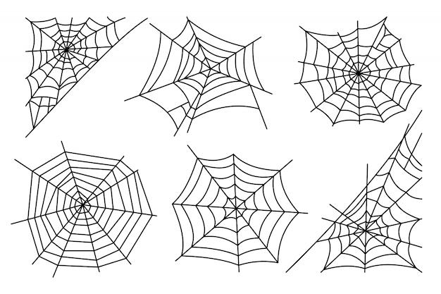Halloween-spinnennetz lokalisiert auf weißem hintergrund Premium Vektoren