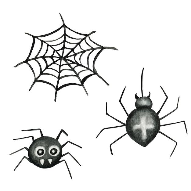 Halloween spinnennetz und spinnen aquarell illustration Premium Vektoren