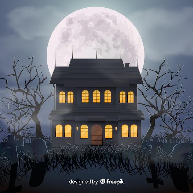 Halloween spukhaus mit realistischem design Kostenlosen Vektoren