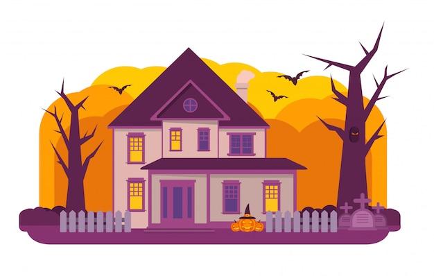 Halloween spukhaus. Premium Vektoren