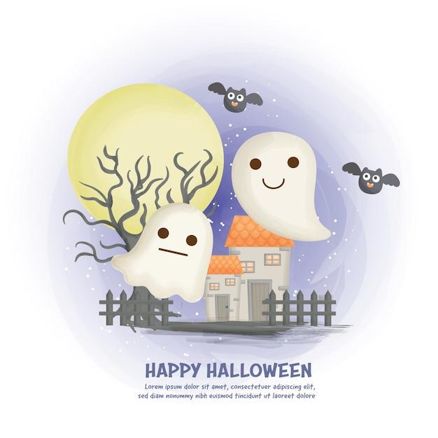 Halloween-spukhaushintergrund mit niedlichem geist. Premium Vektoren