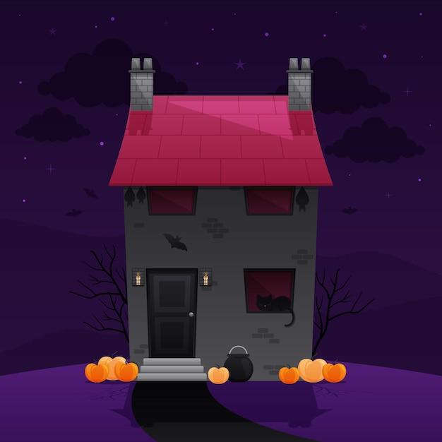 Halloween-spukhausillustration Kostenlosen Vektoren