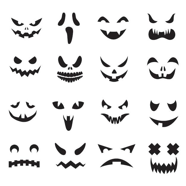 Halloween-steckfassung o-laternegesichtsschattenbilder. monstergeist, der die furchtsamen augen- und mundikonen eingestellt schnitzt Premium Vektoren