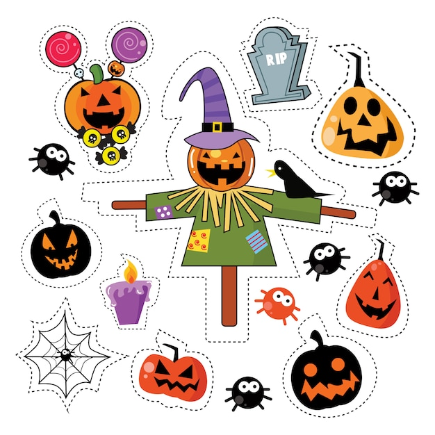 Halloween sticker patches set Premium Vektoren