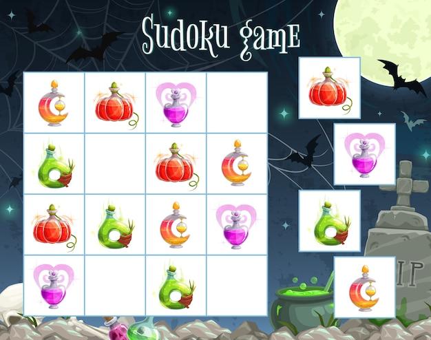 Halloween-sudoku-spielschablone des kinderbildungspuzzlespielquadrats Premium Vektoren