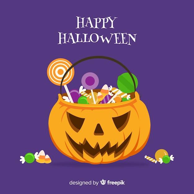Halloween-süßigkeitstaschehintergrunddesign Kostenlosen Vektoren