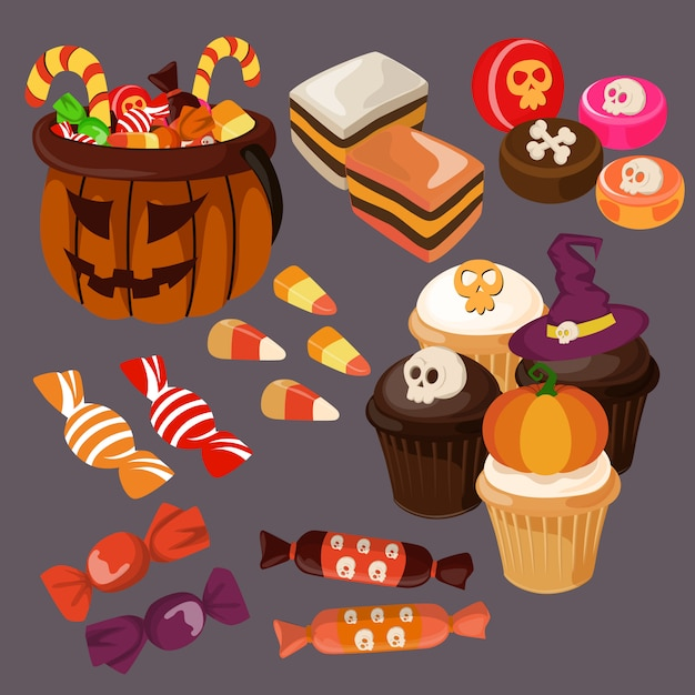 Halloween Süßigkeiten Und Leckereien Download Der Premium Vektor