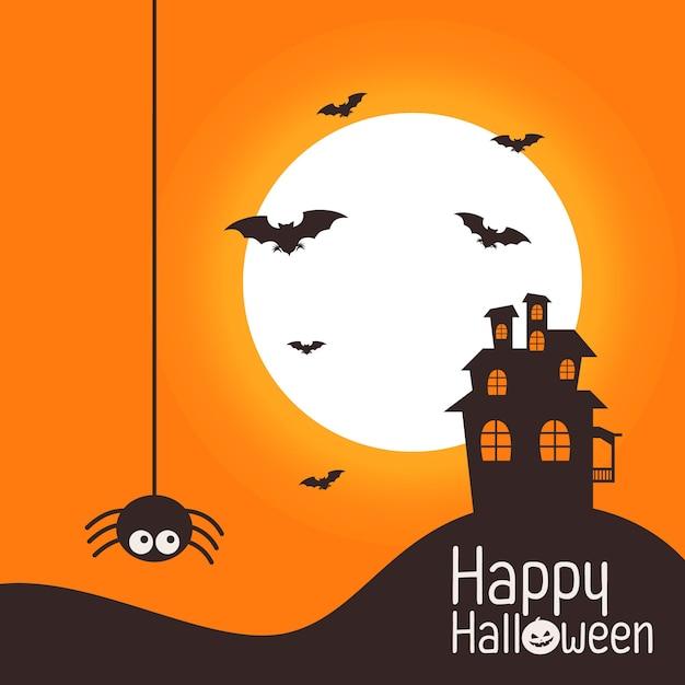 Halloween-thema mit schloss Premium Vektoren