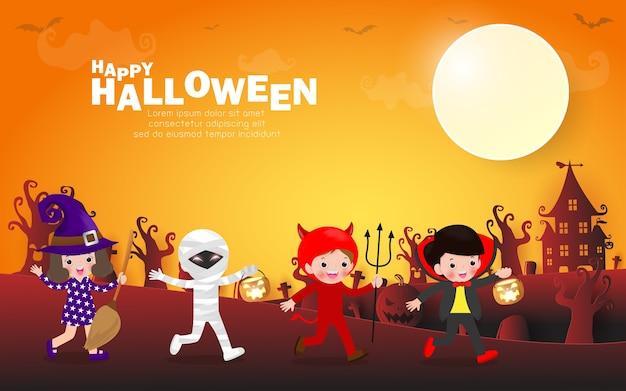 Halloween themenorientierte parteihintergrund Premium Vektoren