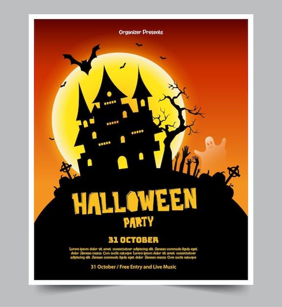 Halloween-themenorientiertes partyplakat Premium Vektoren