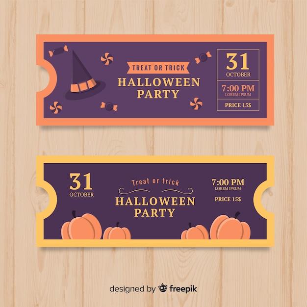 Halloween-ticket-template-design Kostenlosen Vektoren