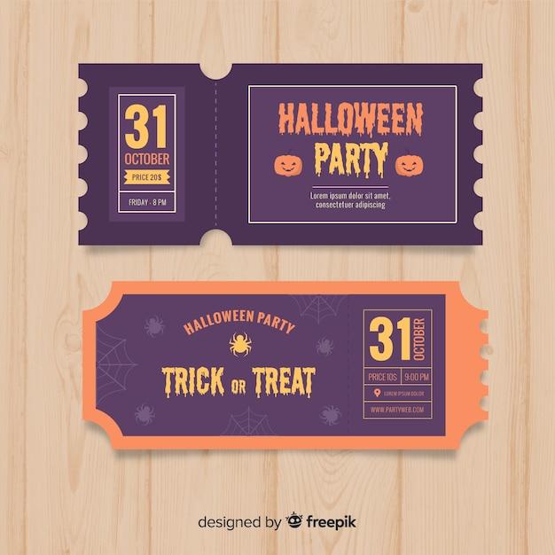 Halloween ticket vorlage konzept Kostenlosen Vektoren