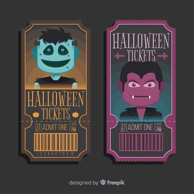 Halloween ticketvorlage Kostenlosen Vektoren
