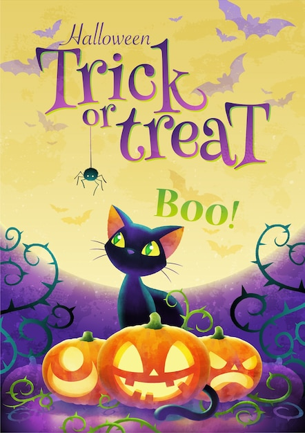 Halloween trick oder behandeln einladungsplakat mit karikatur schwarze katze und gesicht kürbis auf dem vollmond hintergrund Premium Vektoren
