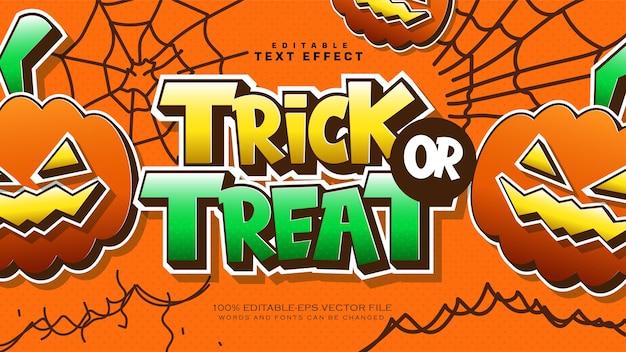 Halloween trick or treat texteffekt Kostenlosen Vektoren