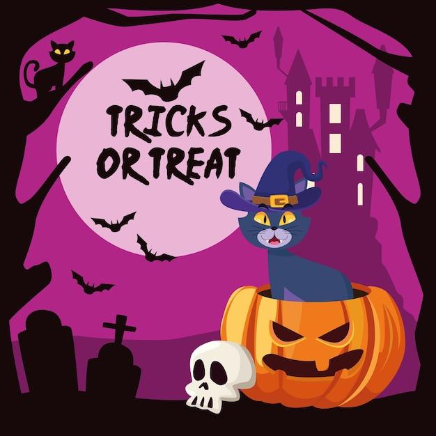Halloween tricks oder behandeln schriftzug mit katze in kürbis und schloss Premium Vektoren