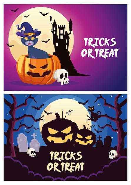Halloween tricks oder behandeln schriftzug mit katze und kürbis in friedhofsszenen vektorillustration Premium Vektoren