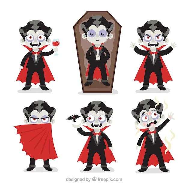 Halloween vampire charakter sammlung Kostenlosen Vektoren